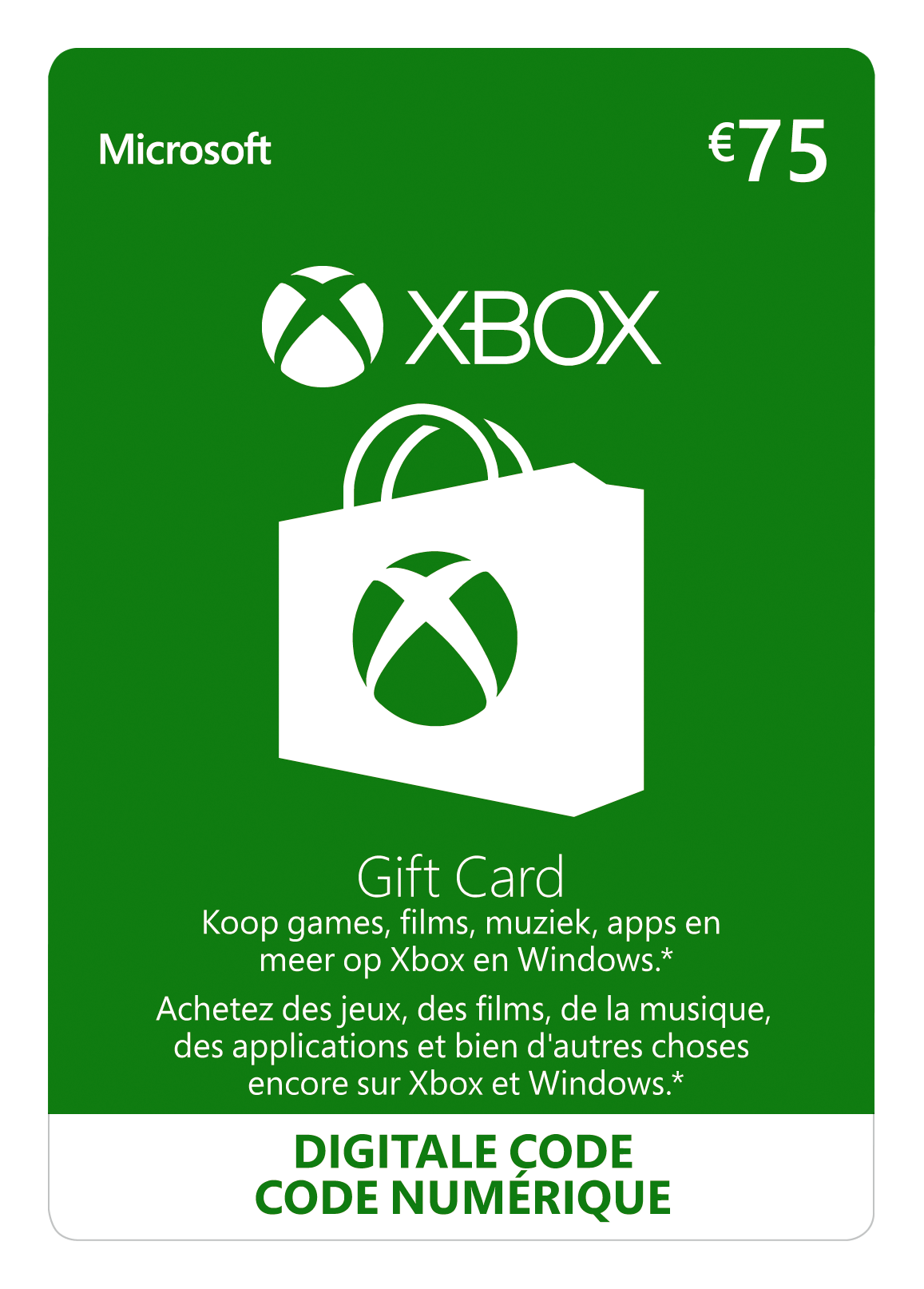 Xbox Giftcard 75 euro (BE)